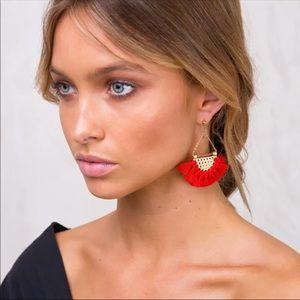 Red fringe earrings